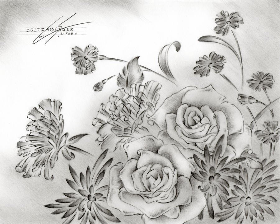Flower drawing 9 by sultzaberger on deviantart for How to dye roses black
