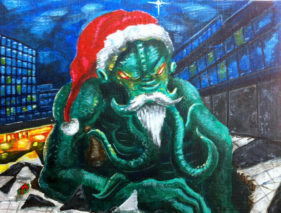 Cthulhu Santa Invades Stockholm by TheLandoBros