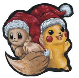 Pikachu and Evee Christmas Card 2019