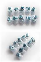 blue rose nails by Nanayuki