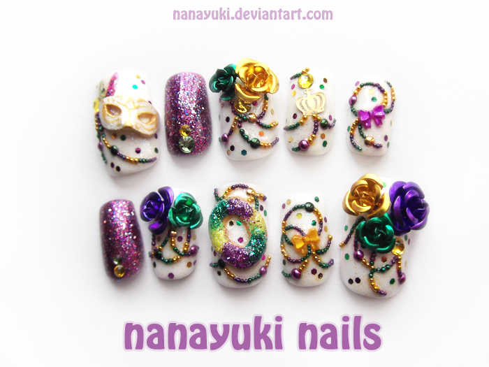 mardi gras nails by Nanayuki on DeviantArt