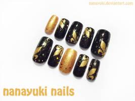 Fleur de lis nailart - black ver by Nanayuki