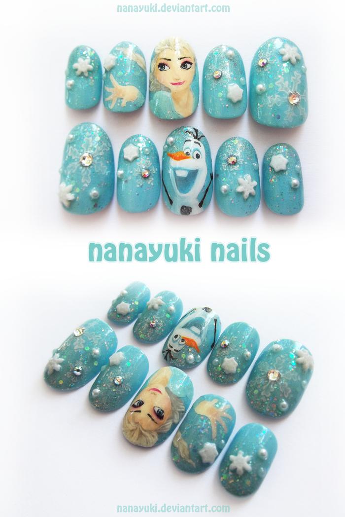 Elsa and Olaf snowflake nails by Nanayuki