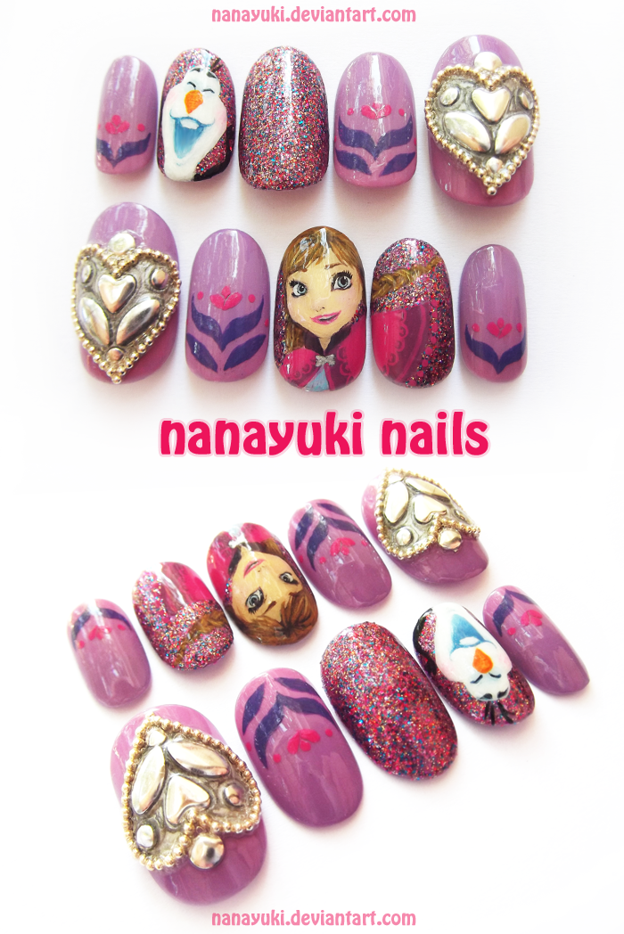 Anna coat inspired nails by Nanayuki