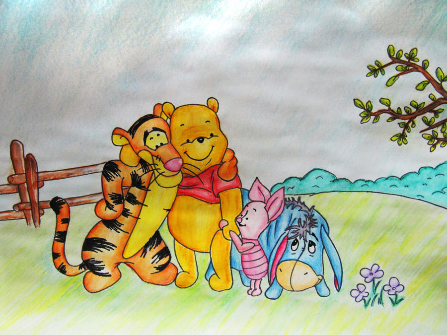 how to draw winnie the pooh and friends
