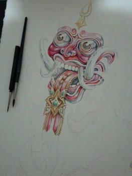 wip rangda - watercolors