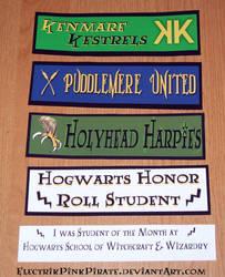 HP Quidditch Hogwarts stickers by ElectrikPinkPirate