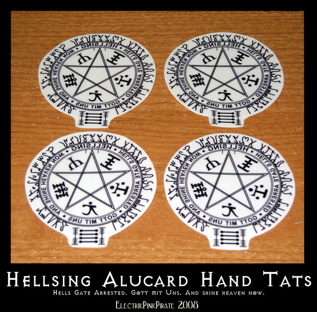 Hellsing Temporary Hand Tats By ElectrikPinkPirate On