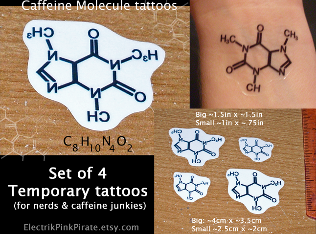 Caffeine molecule tattoos by electrikpinkpirate on deviantart for Caffeine molecule tattoo