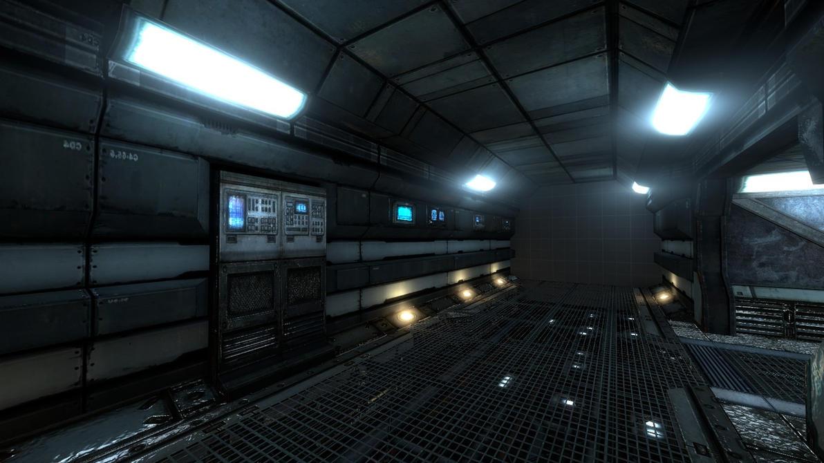 WIP - sci-fi space port/colony corridors by MistaHeita