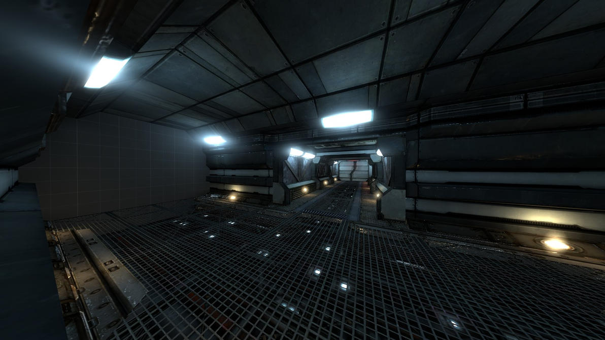 WIP - sci-fi space port/colony corridors #2 by MistaHeita