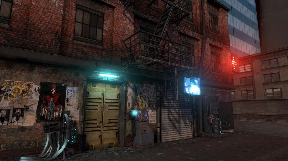 Cyberpunkish alley by MistaHeita