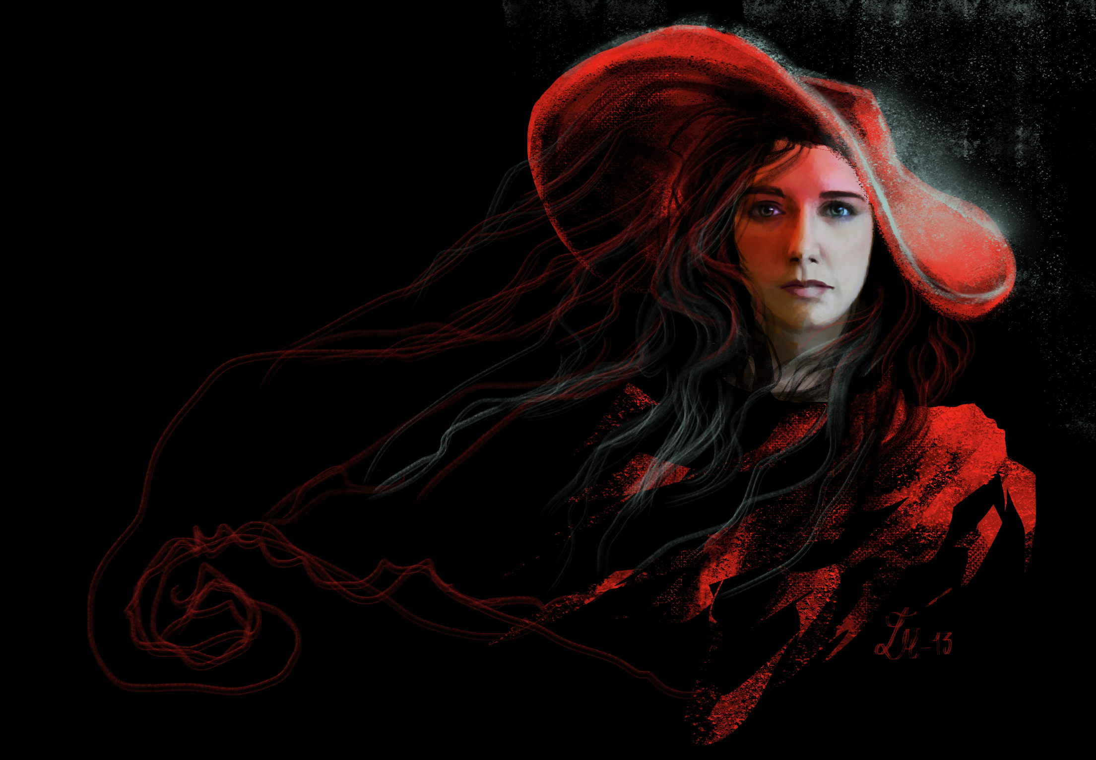 Painting Lady Black Hat On Eyes