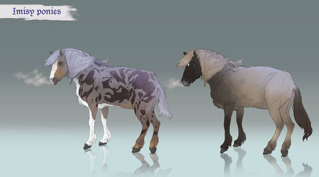 Imisy ponies - Blue merle and Orion coat colors by Roiuky