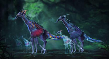 Pandora Giraffe herd by Roiuky