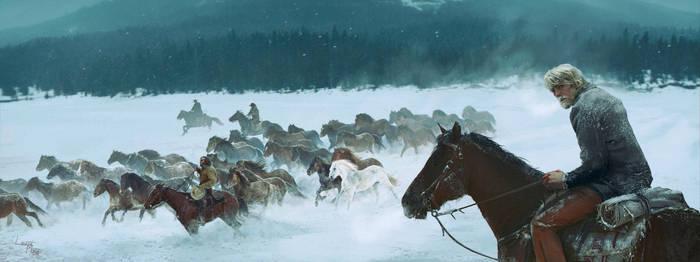 The White stallions herd