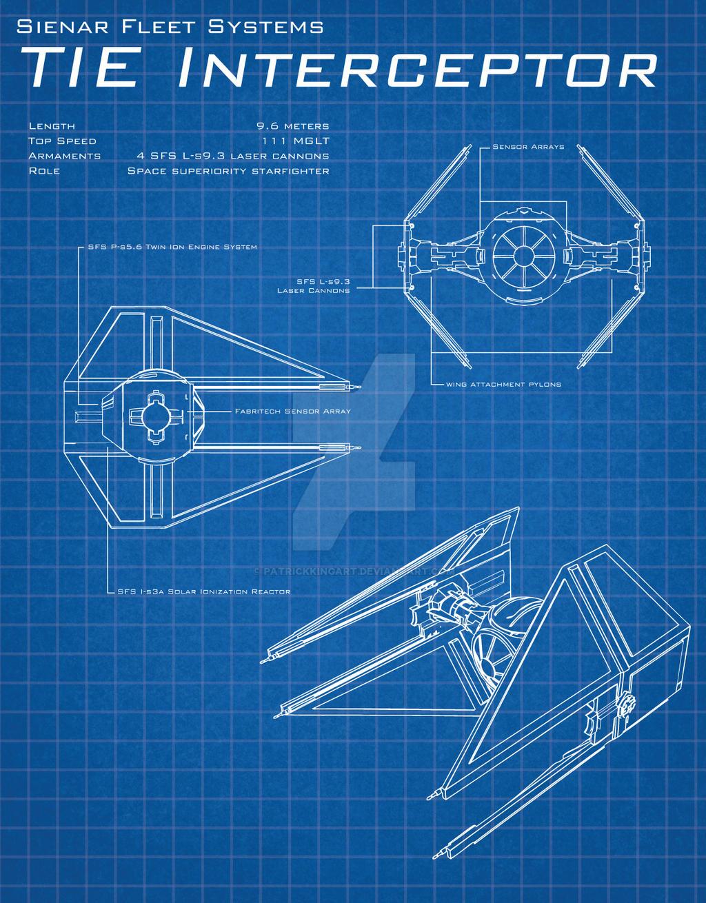 star wars blueprints tie interceptor by patrickkingart on deviantart. Black Bedroom Furniture Sets. Home Design Ideas