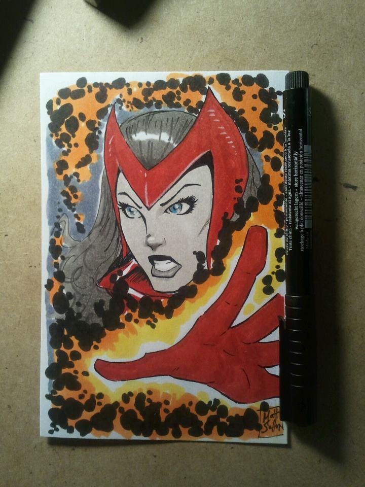 Scarlet Witch sketch card by SixGunslinger