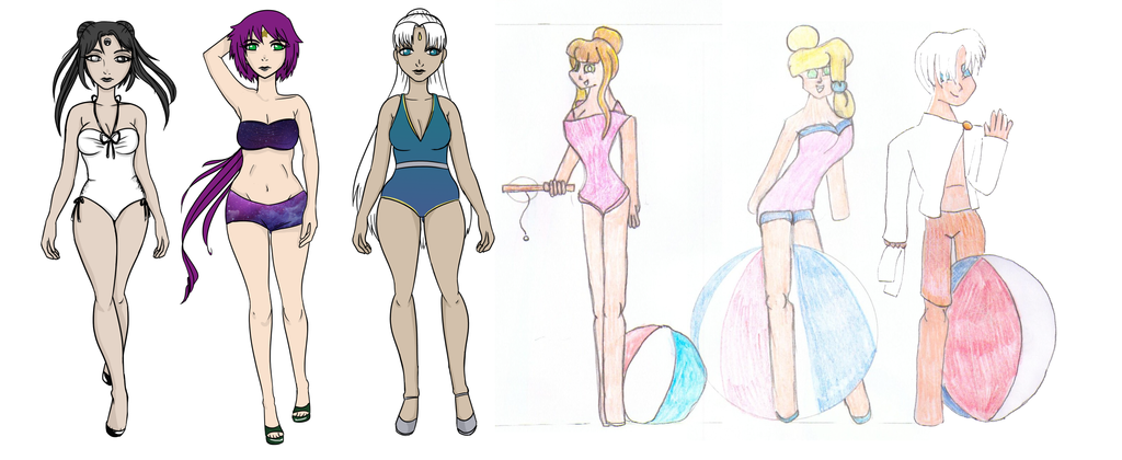 Senshi swimsuit mass collab by hoshi-kou