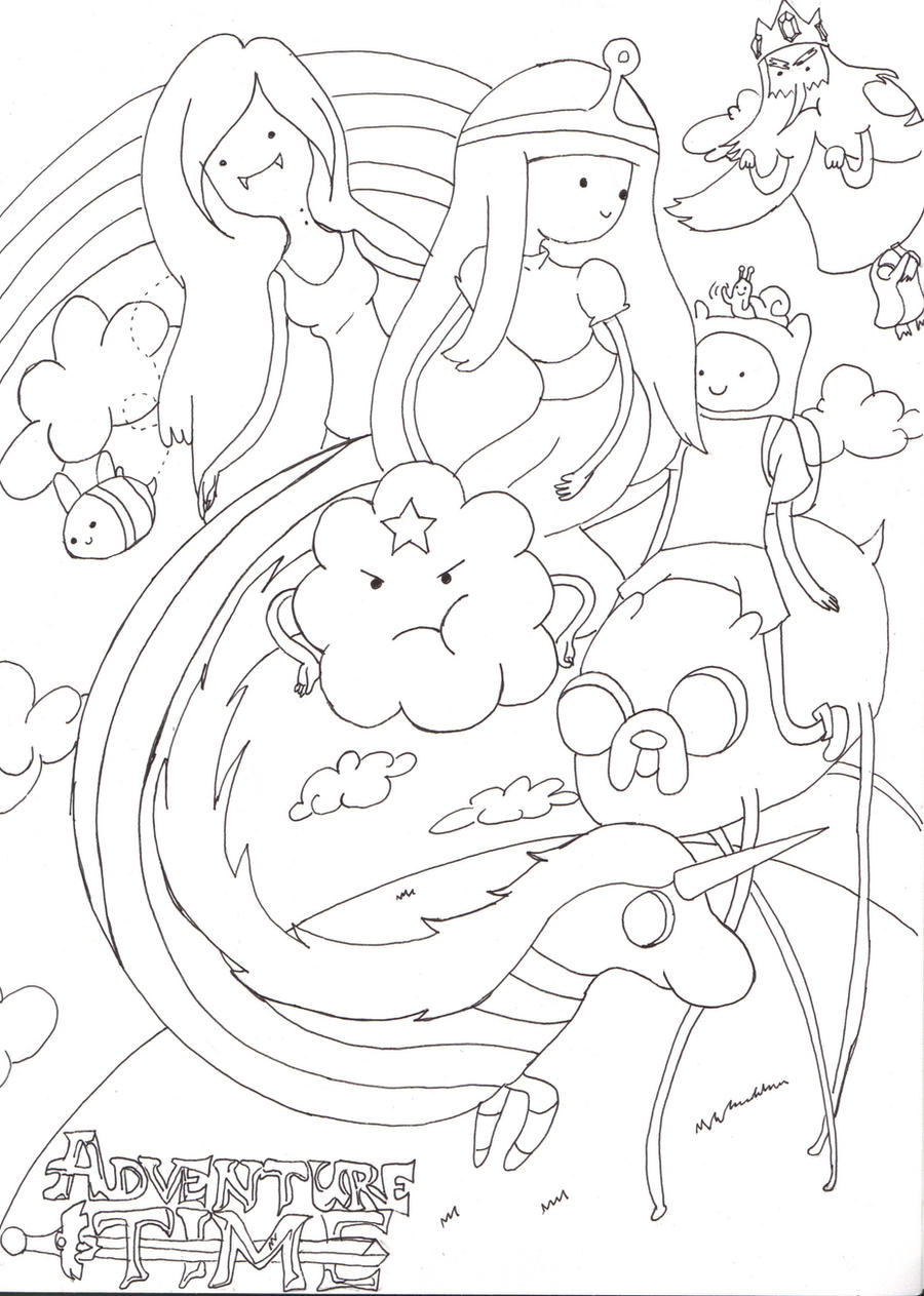 Adventure time lineart by prntscr on deviantart for Marceline coloring pages