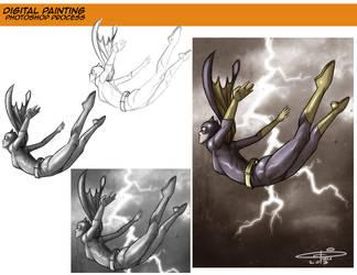 Batgirl Commission Development by CarminePucci