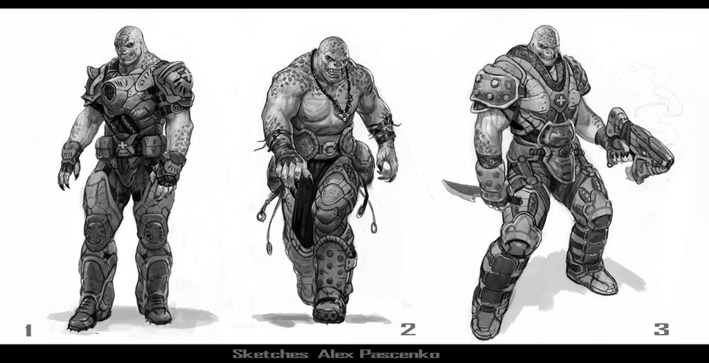 Character Design Gears Of War : Gow sketches locust by alexpascenko on deviantart