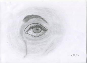 Eye drawing in charcoal