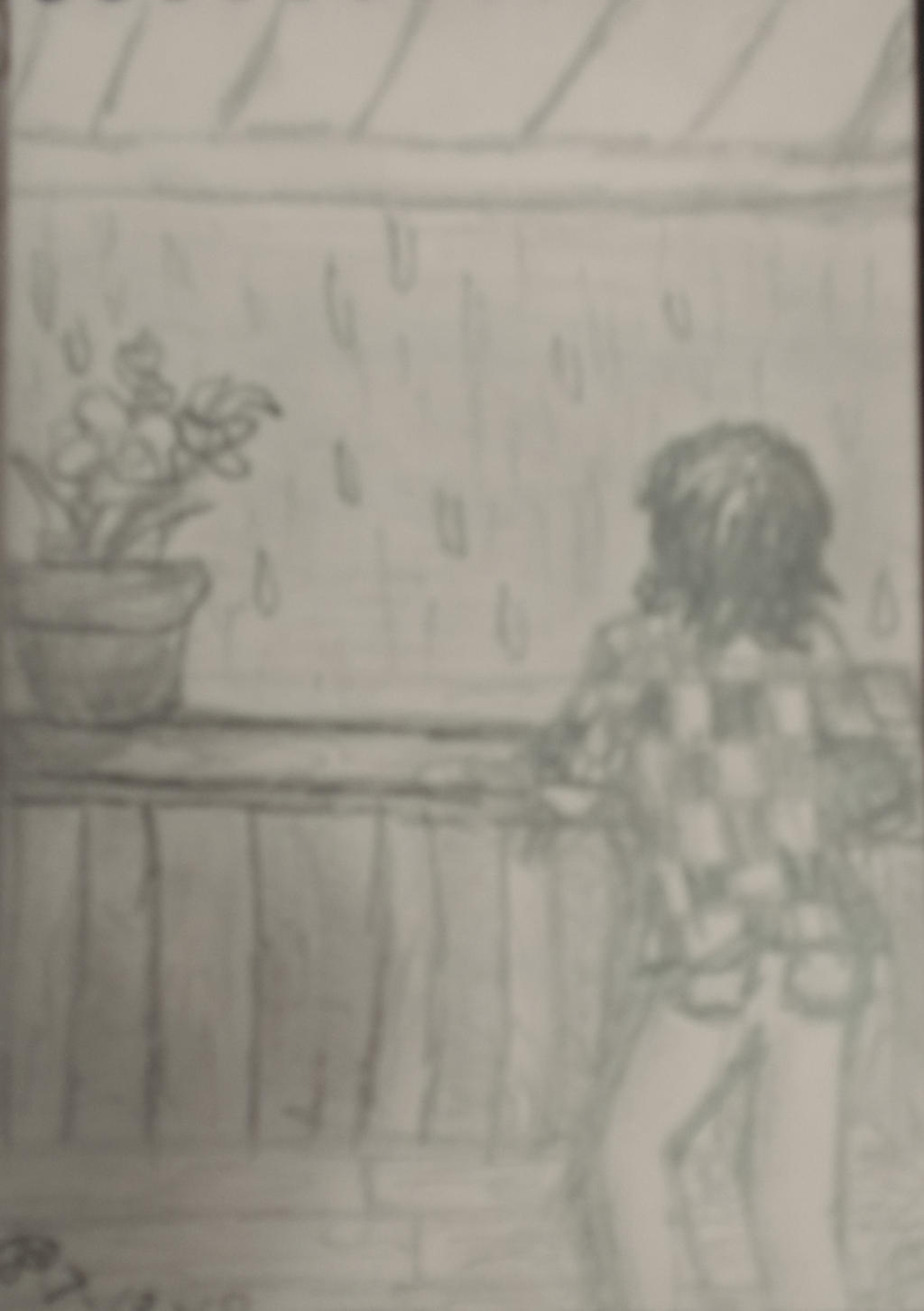 Lorayuhbluerose025 watching the rain pencil sketch by lorayuhbluerose025