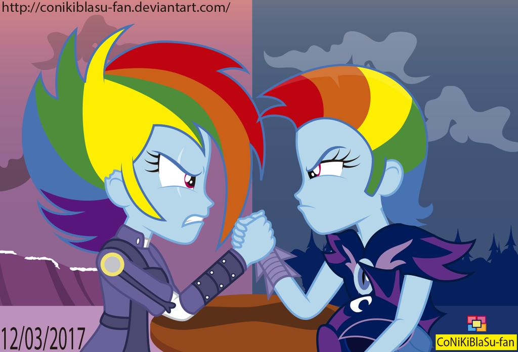 Rainbow Dash VS Rainbow Dash by CoNiKiBlaSu-fan