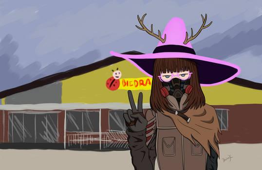 Dziewczynka z patykiem na zakupach w czasie zarazy
