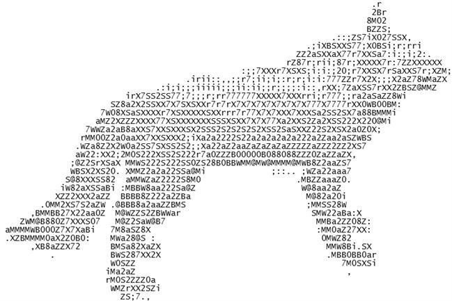 Wolf Ascii by Mixman115 on DeviantArt