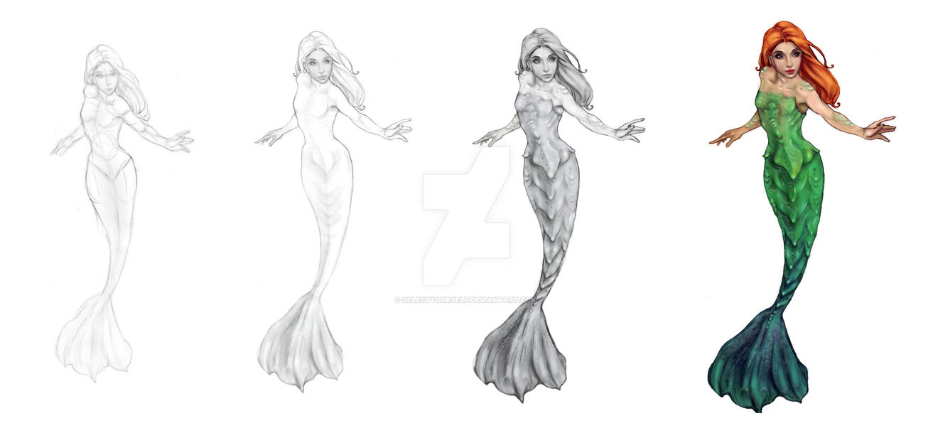 Mermaid Drawing Process by SelectYourself on DeviantArt