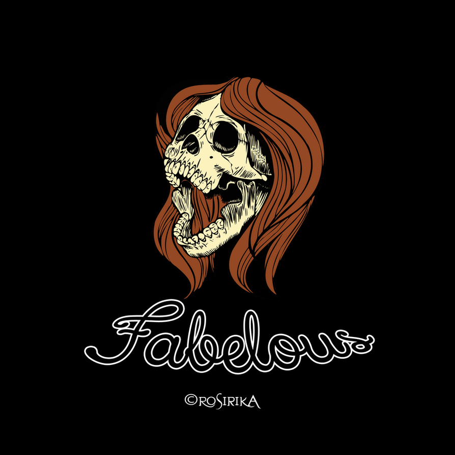 T-Shirt Design Fabelous Skull Girl by Rosirika