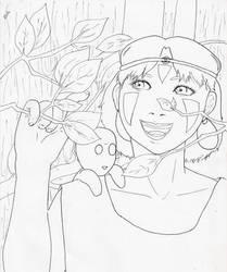 Mononoke Hime line art
