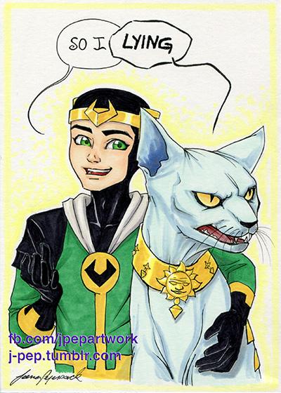 Loki and Lying cat by JPepArt