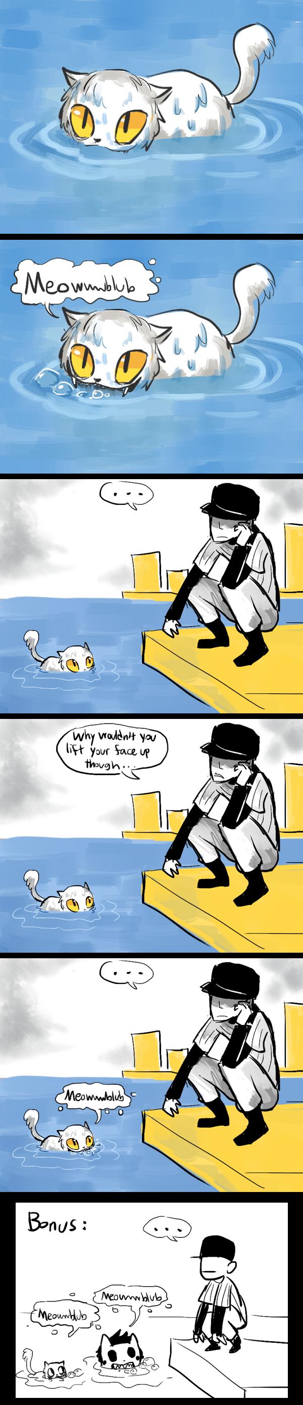 Funny Cat Meows Underwater