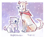 Puppyrus and (no cat pun for sans I'm sorry)