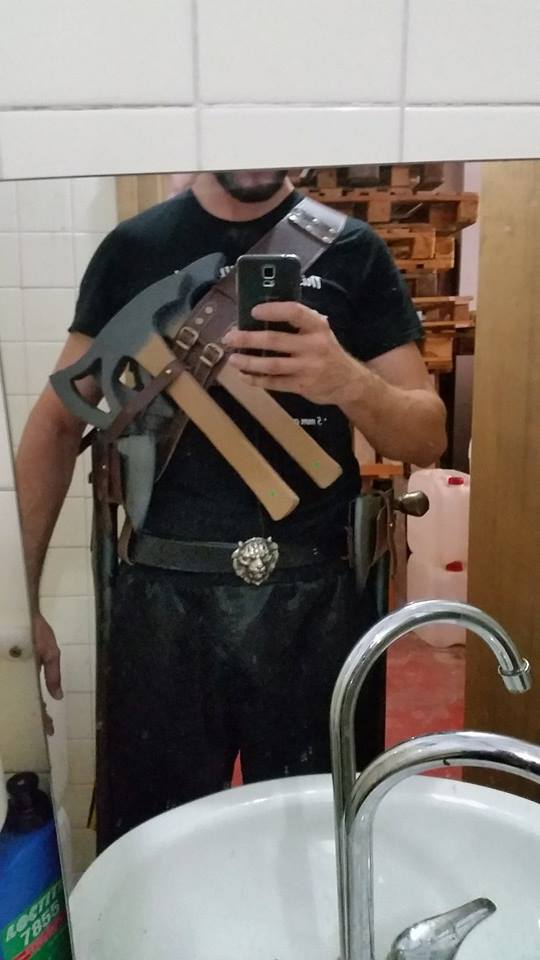 leather weapon holder bandolier and by demonmambo