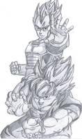 Goku and Vegeta by pete-tiernan