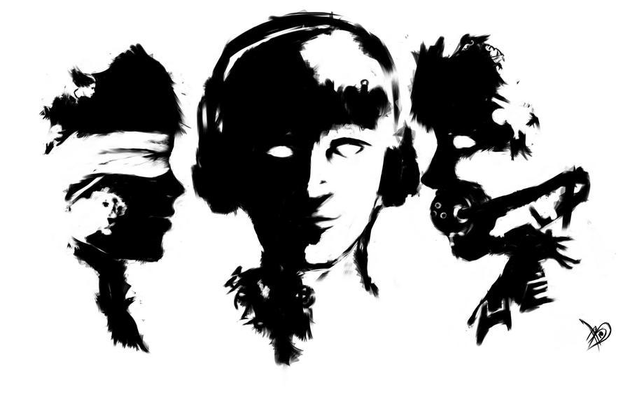 Three Wise Monkeys Drawings Three Wise Monkeys by Boookly