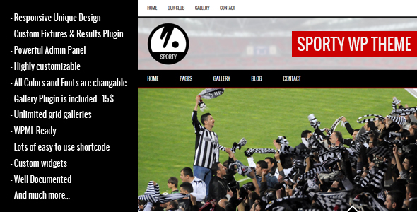 SPORTY-Responsive Wordpress Theme for Sport Clubs by egemenerd