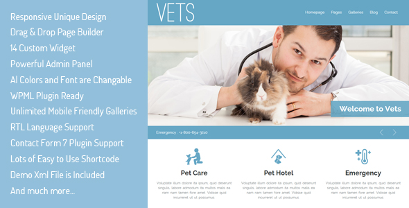 VETS - Veterinary Medical Health Clinic WP Theme by egemenerd