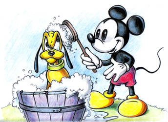 Mickey Mouse and Pluto by zdrer456