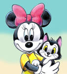 Minnie Mouse and Figaro