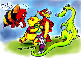 Pooh, Tigger, Piglet, Heffalumps and Woozles by zdrer456