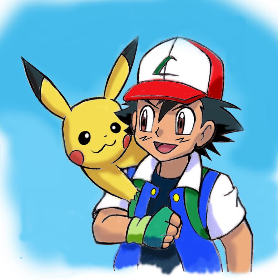 Pokemon  Ash Ketchum and Pikachu by zdrer456