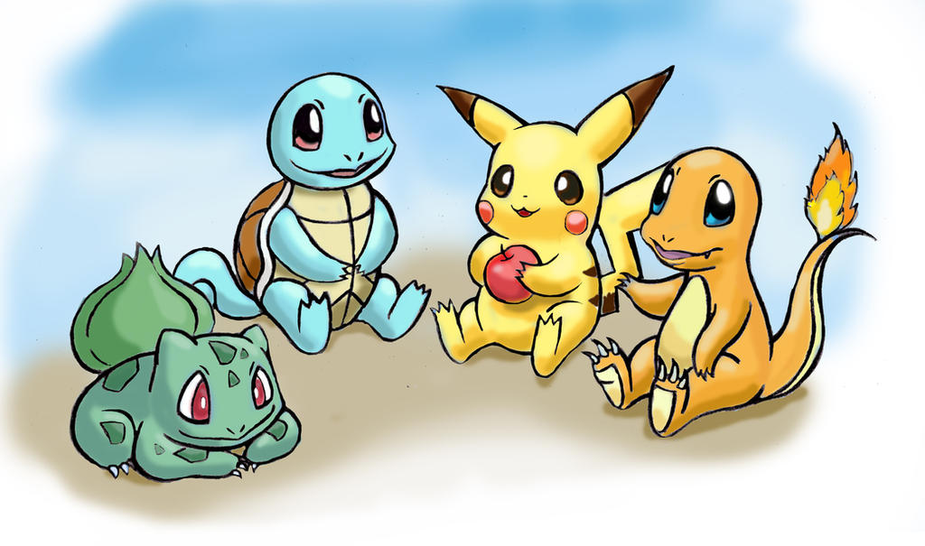 Pikachu, Squirtle, Charmander, Bulbasaur by zdrer456 on ...
