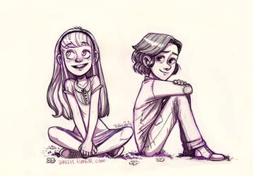 Lily Evans and Severus Snape by airefee