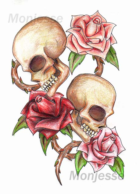 Skulls and roses 3 by monjesse