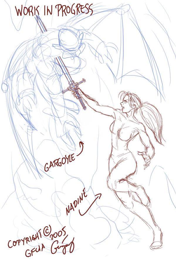 Nadine vs Gargoyle WIP by ultorgabrihel